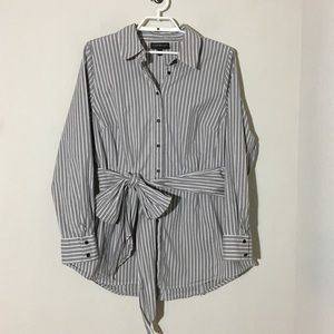 Lane Bryant Button Down Striped Waist Tie Blouse